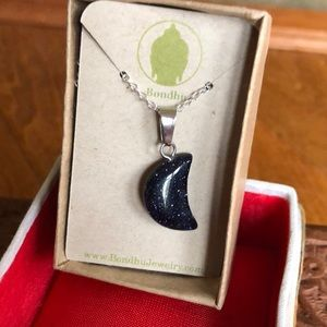 ❤️Blue Goldstone Crescent Moon Necklace